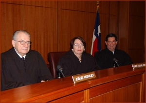 From left, Judge Thomas M. Reavley, Appellate Judges: Chief Judge Carolyn Dineen King, and Judge Emilio M. Garza (Fifth Circuit Court) taken at Baylor Law School ..by Alan Hunt